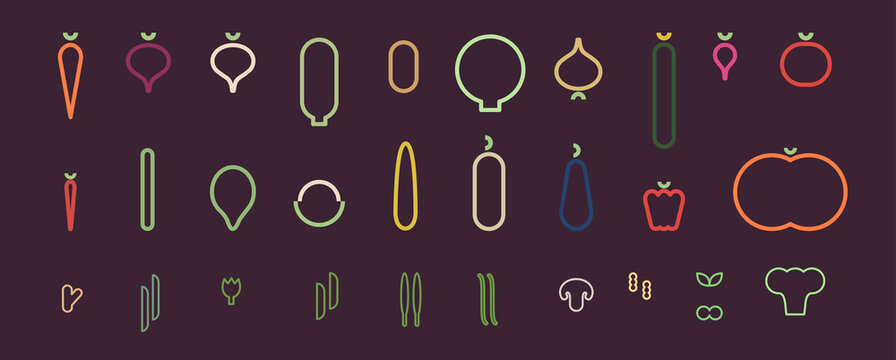 Minimalistic vegetable icons. Flat vector illustration. Vegetable icons, linear style.