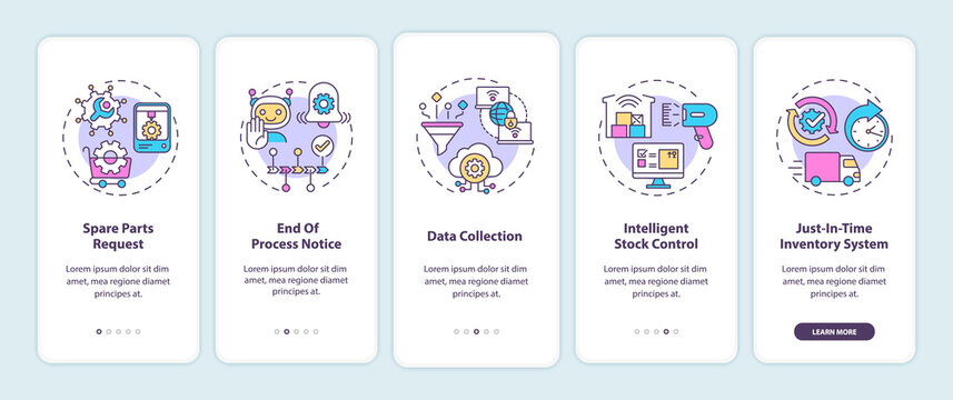 M2M communication types onboarding mobile app page screen with concepts. Spare parts request, data collection walkthrough 5 steps graphic instructions. UI vector template with RGB color illustrations