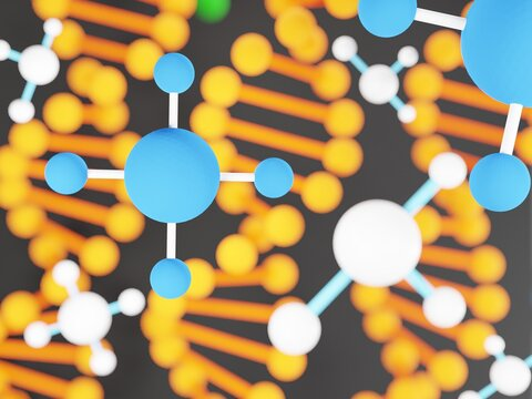 3D cartoon image Small molecules in DNA (deoxyribonucleic acid), Scientific equipment, 3D render