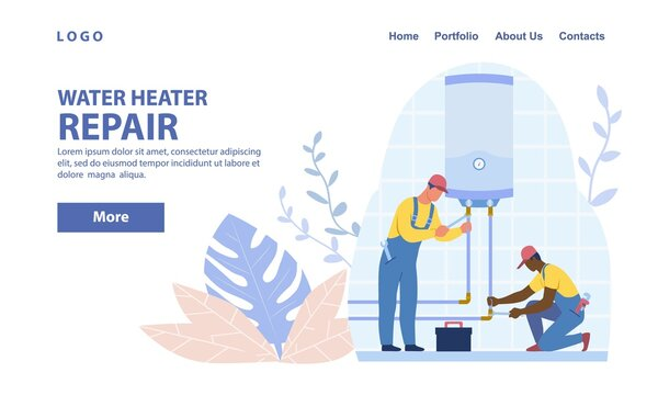 Diverse plumbers repairing or installing water heater or boiler. Home repair, maintenance and plumbing services concept. Flat cartoon vector illustration. Website, webpage, landing page template