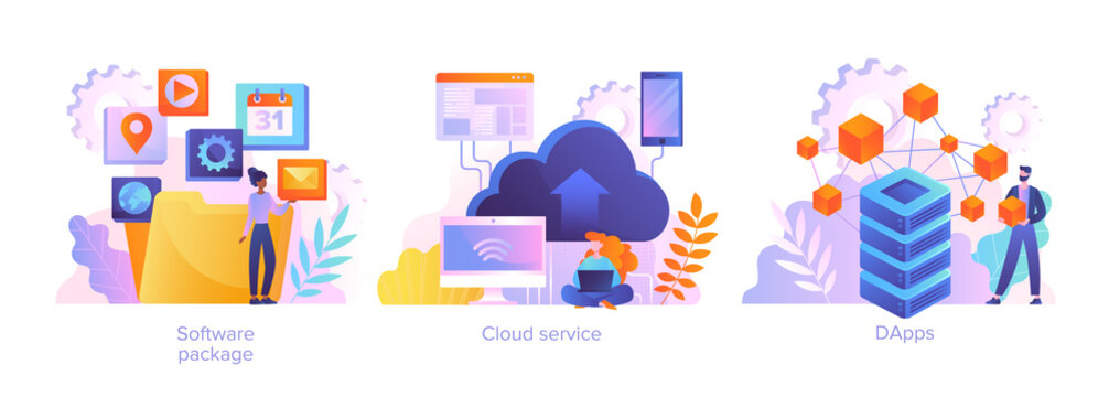 Cloud software service abstract concept. DApps technology, packaged software, decentralized application, cloud computing, subscription abstract metaphor. Set of flat cartoon vector illustrations