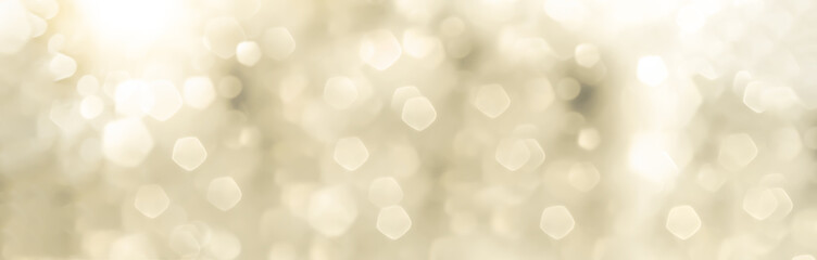 Festive abstract Christmas bokeh background - bokeh lights beige - New Year, Anniversary, Wedding, banner, panorama