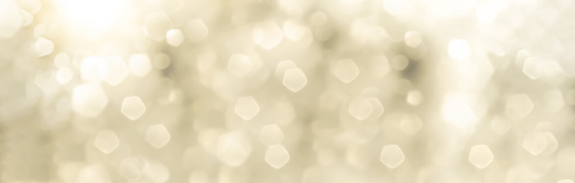 Festive abstract Christmas bokeh background - bokeh lights beige - New Year, Anniversary, Wedding, banner, panorama
