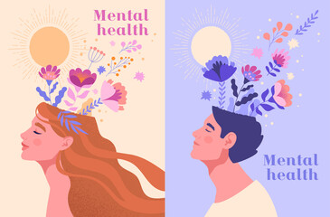 Obraz Mental health, happiness, harmony creative abstract concept. Happy male and female heads with flowers inside. Mindfulness, positive thinking, self care idea. Set of flat cartoon vector illustrations - fototapety do salonu