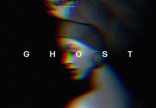 Rgb Digital Ghost Photo Effect Mockup