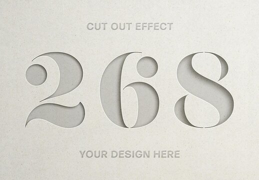 Paper Cut Out Text Effect Mockup
