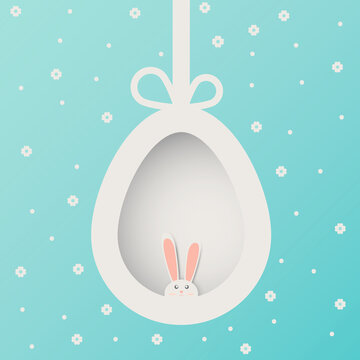 Happy Easter Greeting card with paper cut bunny