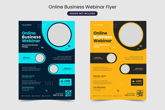 Online Virtual Live Stream Event Conference Business webinar Flyer Layout template