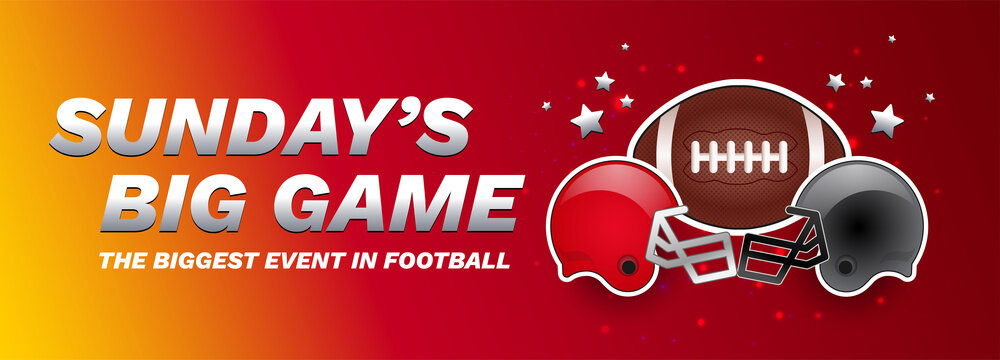 Sunday's big game - American football championship final red banner - football ball, red and gray helmets - vector red and yellow background