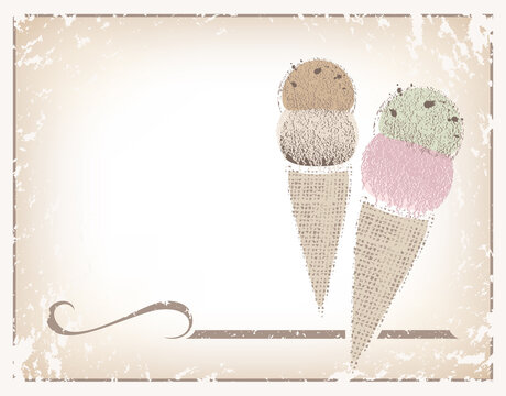 Two ice cream cones made of textures and soft colors