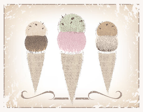 Three different flavored ice cream cones made of textures and soft colors