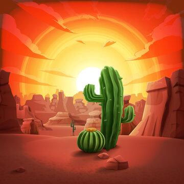 desert scenery with cactus Texas