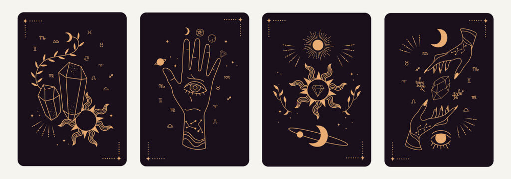 Set of mystical tarot cards. Elements of esoteric, occult, alchemical and witch symbols. Zodiac signs. Cards with esoteric symbols. Silhouette of hands,  stars, moon phases and crystals. Vector