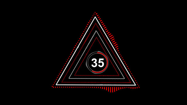 number thirty five, neon timer, countdown