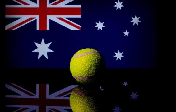Closeup of a tennis ball with the Australian flag - a concept for tennis Australian open