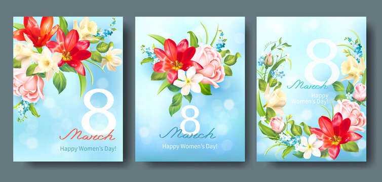 Greeting cards for International Women's Day 8 March. Banners with spring flowers: daffodils, tulips and roses. Vector set.