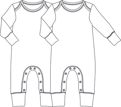 Baby overalls Design Flat Sketch Template vector illustration