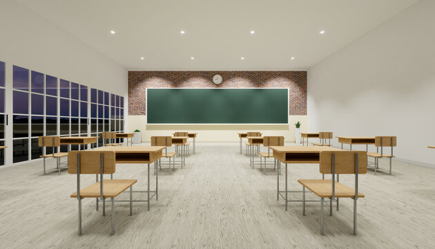 Classroom background. Room interior in school and empty board, blackboard or chalkboard, furniture, desk, table, wood floor. For teacher, student to teach, learn, seminar, meeting, training. 3d render