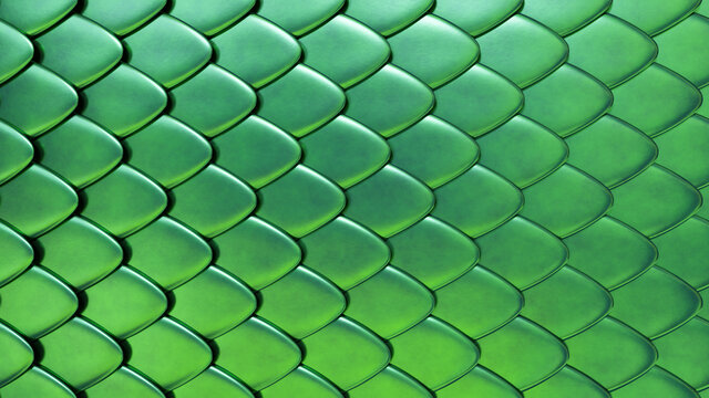 Snake or dragon green skin with scales. Fantasy texture. 3D rendered background.