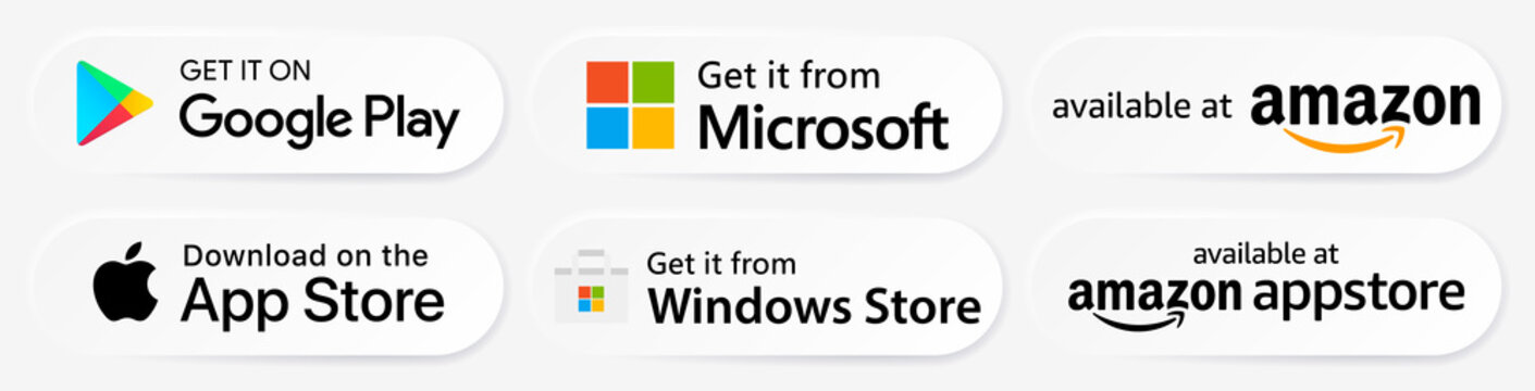 Recke, Germany - February 05, 2021: Google Play, Apple App Store, Microsoft, Windows Store, Amazon, Amazon Appstore Badges Buttons Set. Editorial vector.