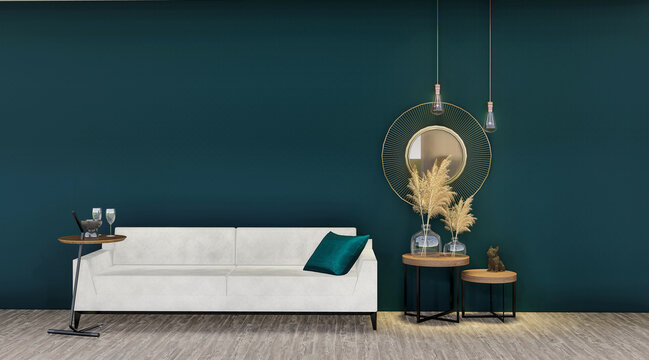 Couch and double side table and decoration in the living room interior, dark blue wall simulation background, 3D rendering