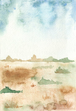 Watercolor African landscape with dry grass, savanna