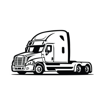 Trucker semi truck 18 wheeler with trailer attached isolated vector image