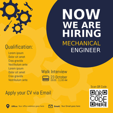 Job recruitment mechanical engineer design for companies. Square social media post layout. We are hiring banner, poster, background template