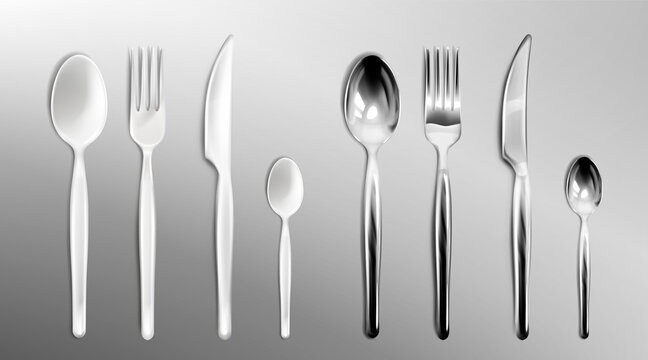 White plastic and steel cutlery isolated on transparent background. Vector realistic set of flatware, stainless or silver fork, spoon and knife, disposable plastic tableware