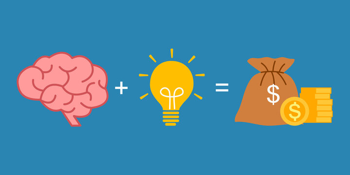 Brain, lightbulb and money in flat design. Creative idea in business investment generated profit.