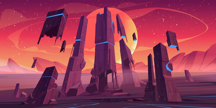 Alien planet landscape with rocks and futuristic building ruins with glowing blue cracks. Vector cartoon fantasy illustration of outer space with stars, moon and planet surface for gui game design