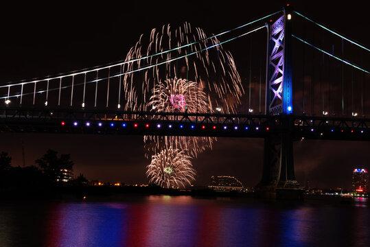 Fireworks Exploding Near Ben Franklin Bridge Philadelphia PA on July 4th.