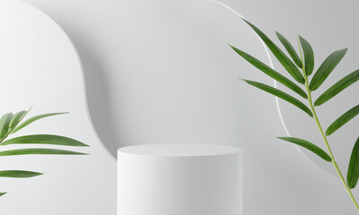 White product display podium with bamboo nature leaves. 3D rendering - fototapety na wymiar