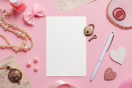 Love Greeting Card on Pink Background Mockup Blank