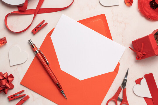 Red Envelope with White Card Mockup Blank