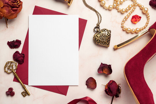 Secret Vintage Love Greeting Card Mockup Blank