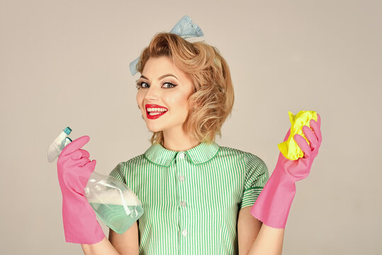 Housekeeper woman with cleaning products. Cleaning, retro style, purity. Quality home cleaning, housewife. House cleaning service.