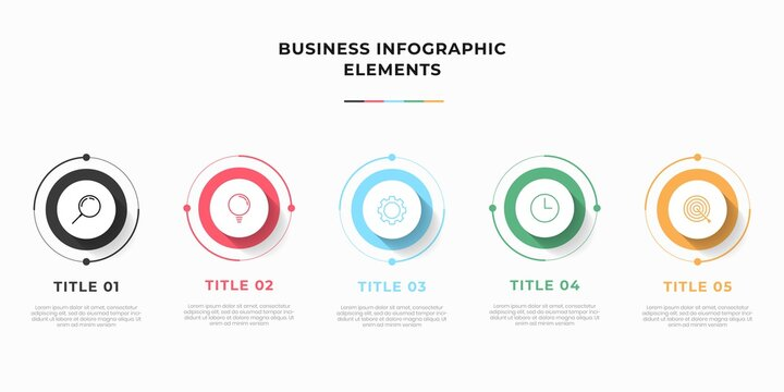 Presentation business infographic template with 3 options or steps. Modern infographic design template. Creative concept of five stages of business project