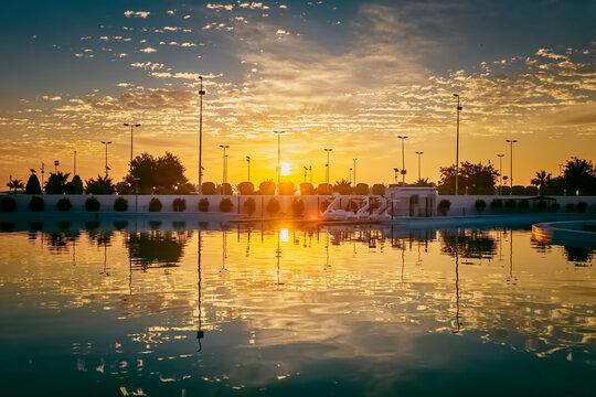 Beautiful sunset view in King fahad park Dammam Saudi Arabia. Selective focus background blurred.