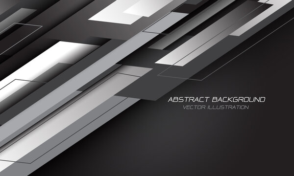 Abstract white grey geometric slash on black with blank space design modern futuristic background vector illustration.