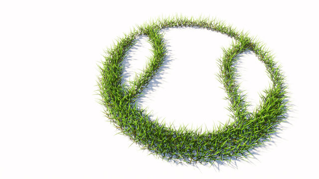 Concept or conceptual green summer lawn grass symbol shape isolated on white background, sign of a ball. A 3d illustration metaphor for sport,  basketball, tennis, competition and fun or helth