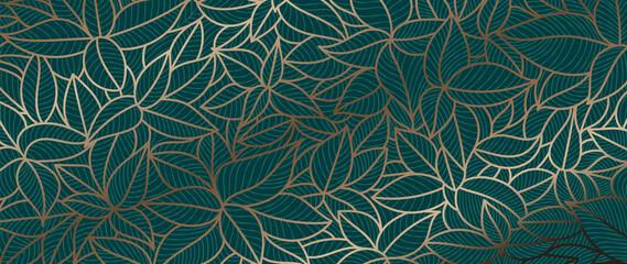 Fototapeta Luxury gold and nature green background vector. Floral pattern, Golden split-leaf Philodendron plant with monstera plant line arts, Vector illustration. obraz