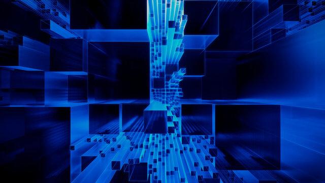Futuristic, Blue 3D Block background. Vibrant colored Tech Wallpaper. 3D Render