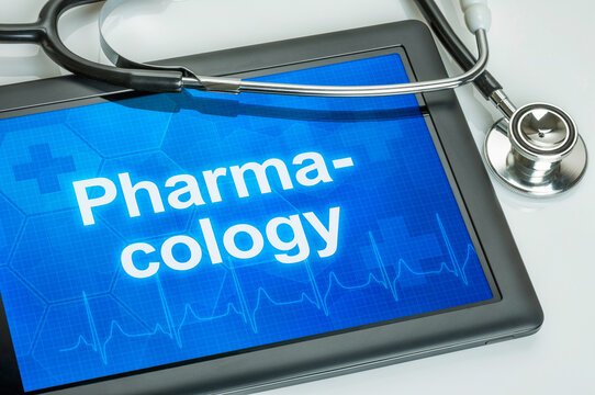 Tablet with the medical specialty Pharmacology on the display