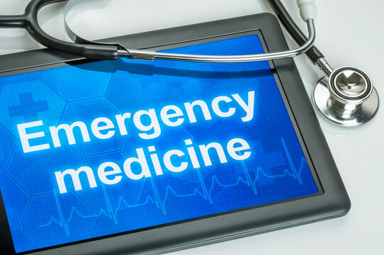 Tablet with the text Emergency medicine the display