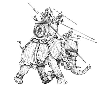 War elephant attack, army of Carthage. Pencil drawing.