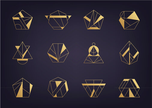 Vector set of abstract geometric logos. Art deco, hipster, golden line style. Hexagon, triangle, polygon linear shapes.