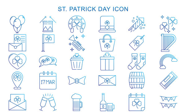 Saint Patricks day vector icons set. gradations flat icons for logo, sign, web buttons. Minimalist st. Patricks day menu, flyer, price tag, poster. clover, beer glass, leprechaun hat.