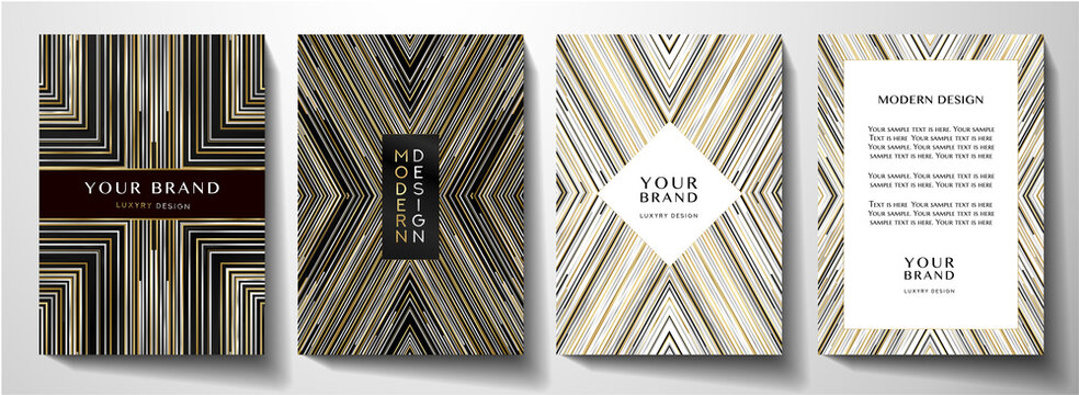 Modern cover design set. Luxury creative line pattern in black, gold, silver and white colors. Vector layout useful for notebook cover, poster, brochure template
