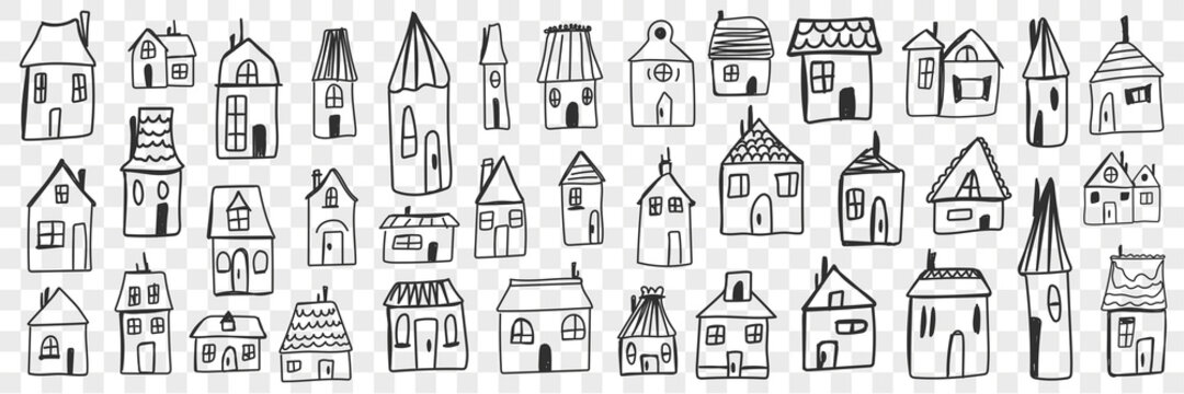 Various houses and buildings doodle set. Collection of hand drawn small one floored houses buildings for living isolated on transparent background. Illustration of architecture and exterior